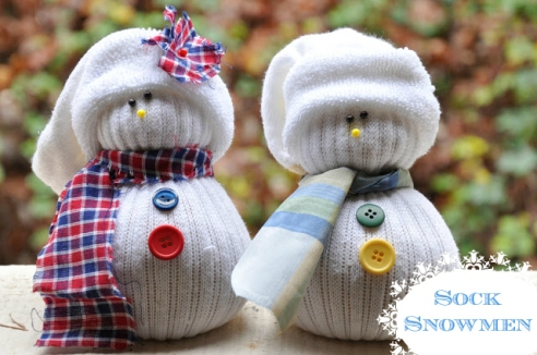 Sock Snowmen with label